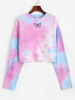 Tie Dye Print Butterfly Embroidered Sweatshirt - Multi L
