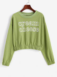 Sweat-shirtCourtLettreGraphiqueàColRond - Vert Oignon Xl