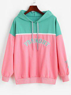Letter Embroidered Colorblock Oversize Hoodie - Multi-a M