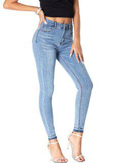 Frayed Hem High Waisted Cat Whiskers Jeans - Blue M