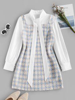 Plaid Pussy Bow Tweed Combo Dress - Light Blue L
