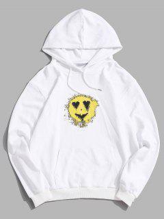 Liebes Herz Lächeln Gesicht Emoticonmuster Hoodie - Weiß S