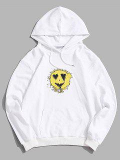 Love Heart Smiling Face Happy Pattern Hoodie - White L