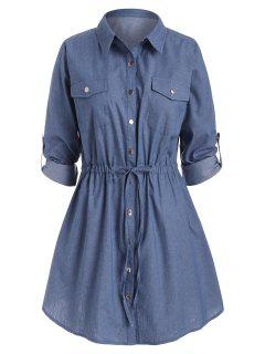 Plus Size Roll Sleeve Chambray Snap Button Shirt Dress - Blue L