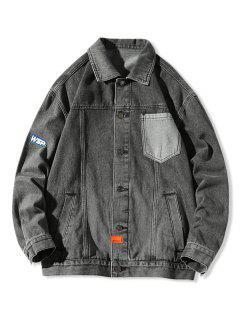 Letter Pocket Patch Jean Jacket - Black 3xl