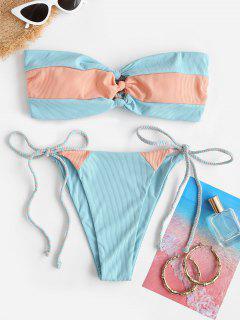 ZAFUL Ribbed Colorblock Braided Bow Bandeau Bikini Swimwear - Light Blue M