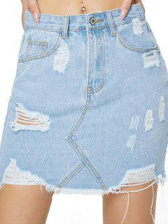 Distressed Zip Fly Bodycon Denim Skirt - Light Blue L