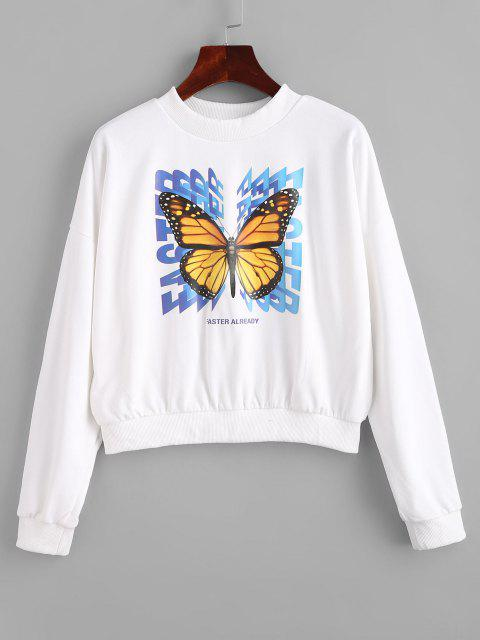 Crew Neck Letter Butterfly Graphic Sweatshirt - أبيض L Mobile