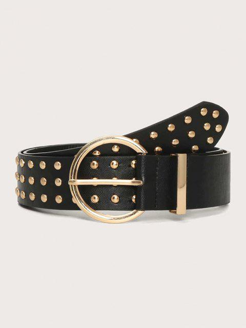 unique Punk Rivets Pin Buckle Belt - BLACK  Mobile