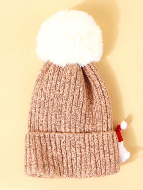 Chapéu de Pom Tricotado com Padrão de Pai Natal - Luz rosa  Mobile