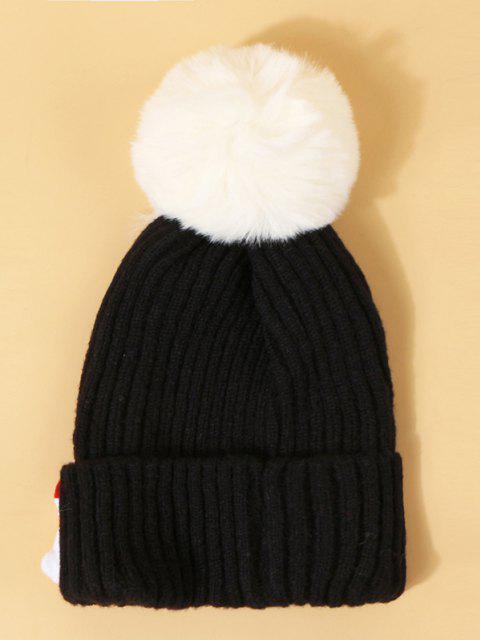 Christmas Santa Pattern Pom Pom Hat - أسود  Mobile