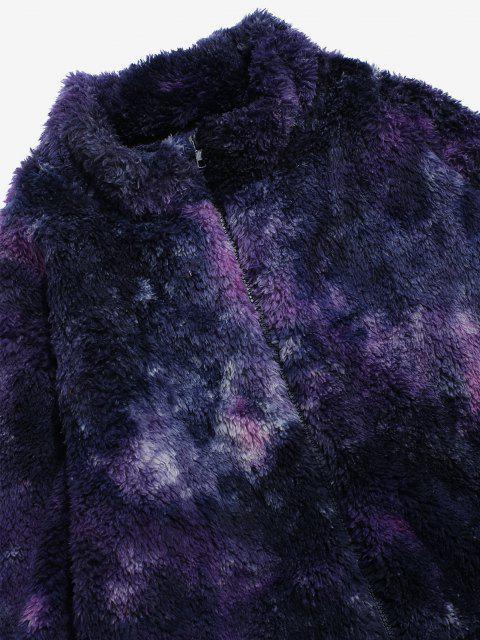 Jaqueta Fofo com Zíper e Tingimento de Gravata - Cor de Púrpura Escura L Mobile