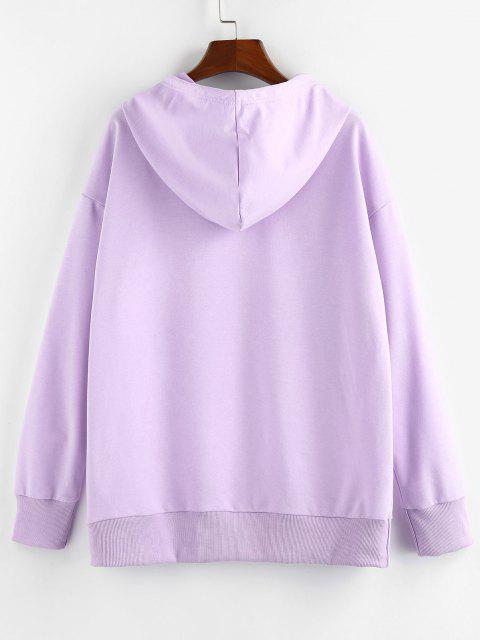 ZAFUL Moon Sun Star Graphic Pocket Drop Shoulder Hoodie - ضوء ارجواني XL Mobile