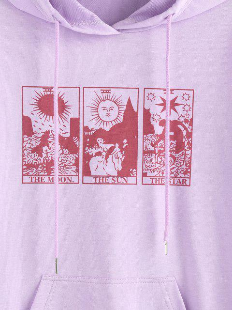shops ZAFUL Moon Sun Star Graphic Pocket Drop Shoulder Hoodie - LIGHT PURPLE M Mobile