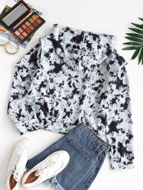 Drawstring Shoulder Pads Tie Dye Hoodie - أسود M Mobile