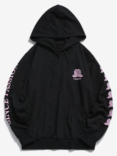 shops ZAFUL Rose Passion Pattern Hoodie - BLACK M Mobile
