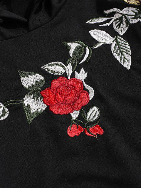 chic ZAFUL Flower Embroidery Front Pocket Hoodie - BLACK M Mobile