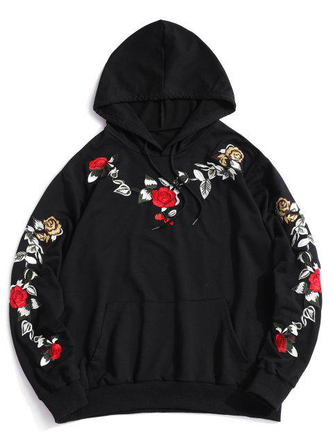 ZAFUL Flower Embroidery Front Pocket Hoodie - أسود XL Mobile