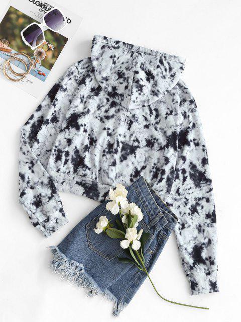 Pockets Zip Up Tie Dye Hoodie - أسود L Mobile