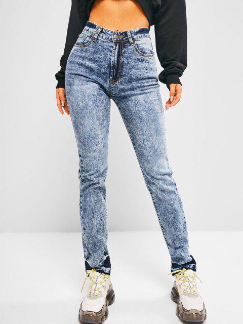 Jean Moulant Taille Haute à Ourlet Effrangé - Bleu M Mobile
