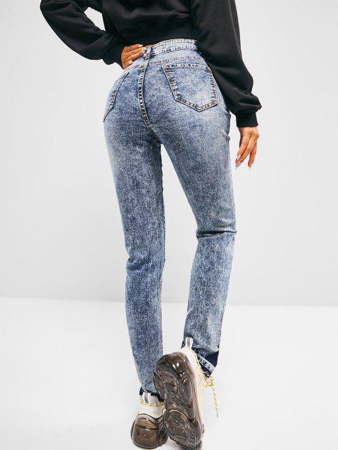 online High Waisted Frayed Hem Skinny Jeans - BLUE S Mobile