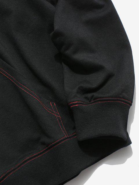 ZAFUL Sweat à Capuche Motif de Lettre Drapeau Américain Cousu - Noir S Mobile