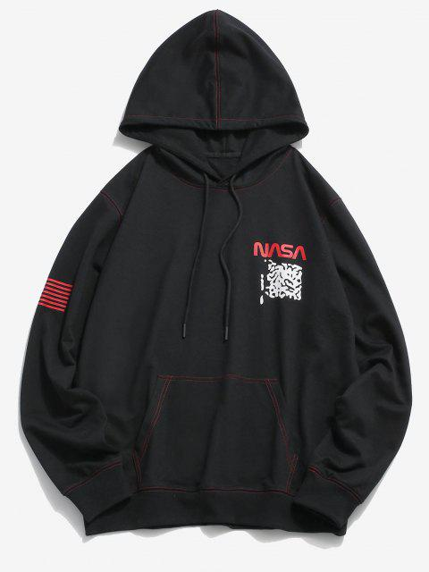 new ZAFUL American Flag Letter Pattern Stitching Hoodie - BLACK 2XL Mobile