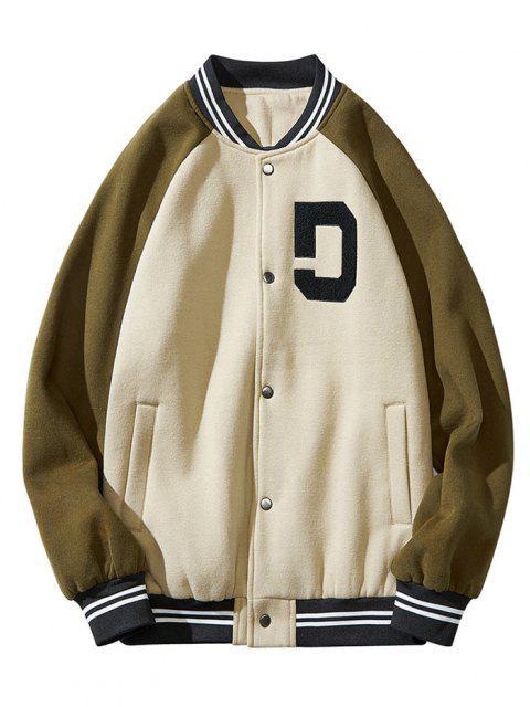 fancy Colorblock Panel Raglan Sleeve Baseball Jacket - GREEN XL Mobile