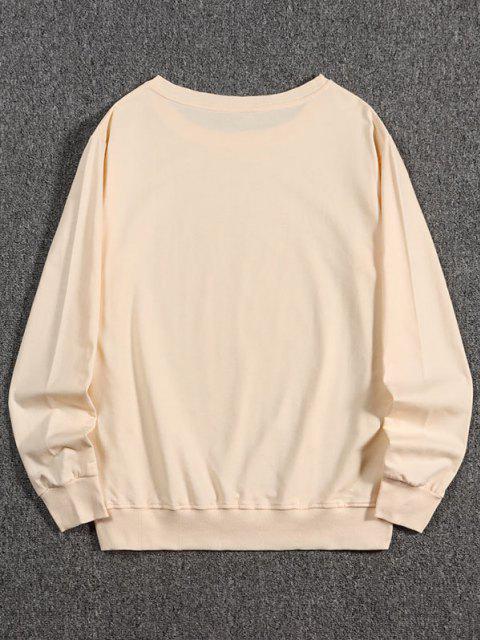 shop Letter Dragon Print Oriental Sweatshirt - PEACH M Mobile