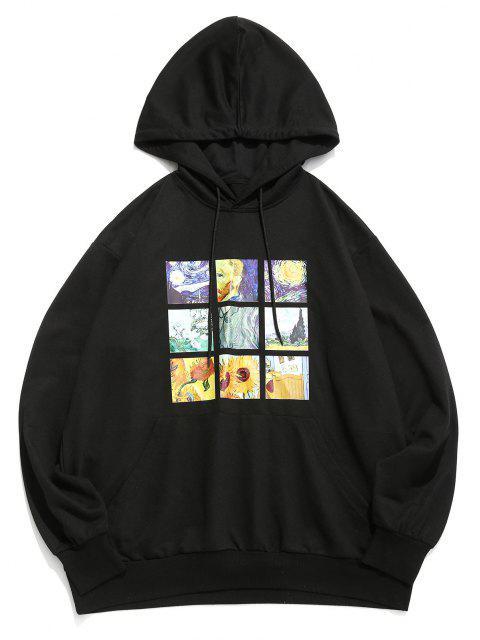 women ZAFUL Van Gogh Galaxy Sunflower Print Front Pocket Hoodie - BLACK S Mobile