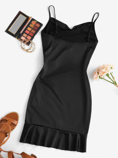 affordable Satin Cowl Front Cinched Ruffle Hem Dress - BLACK M Mobile