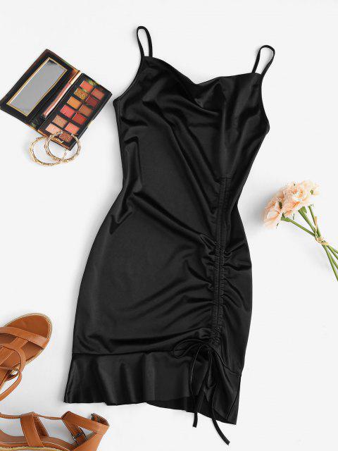 fancy Satin Cowl Front Cinched Ruffle Hem Dress - BLACK L Mobile