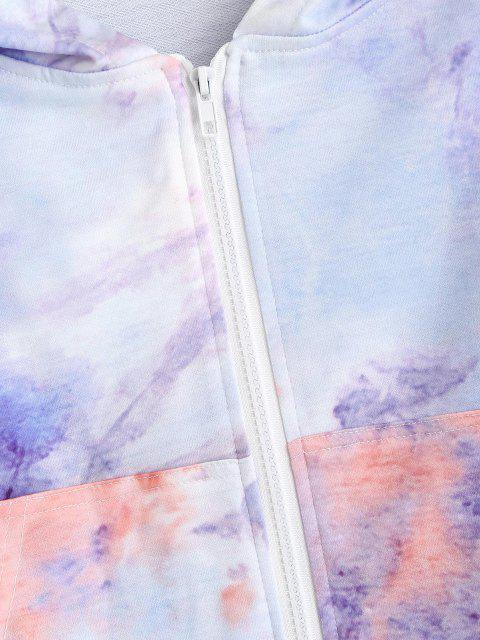 sale Tie Dye Zip Up Pocket Hoodie - MULTI L Mobile