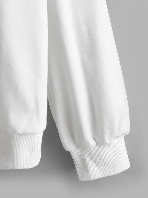 hot Two Tone Drop Shoulder Pullover Sweatshirt - BLACK M Mobile