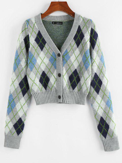 outfit ZAFUL V Neck Argyle Button Up Cardigan - MULTI M Mobile