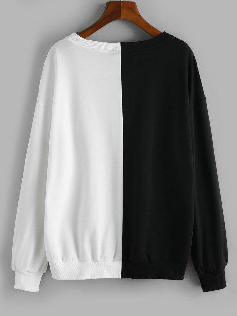 latest Two Tone Drop Shoulder Pullover Sweatshirt - BLACK S Mobile