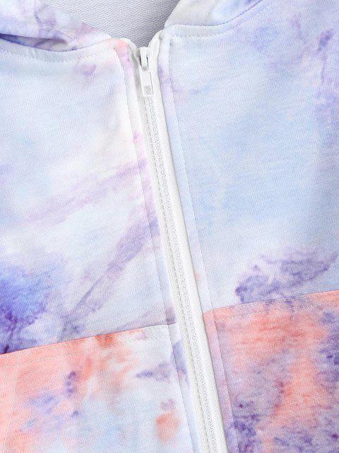latest Tie Dye Zip Up Pocket Hoodie - MULTI S Mobile