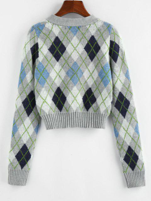 online ZAFUL V Neck Argyle Button Up Cardigan - MULTI XL Mobile