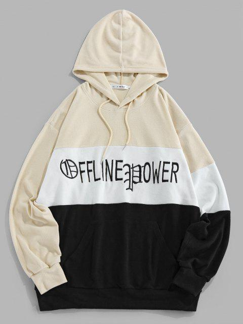 lady ZAFUL Colorblock Panel Letter Embroidery Hoodie - MULTI S Mobile