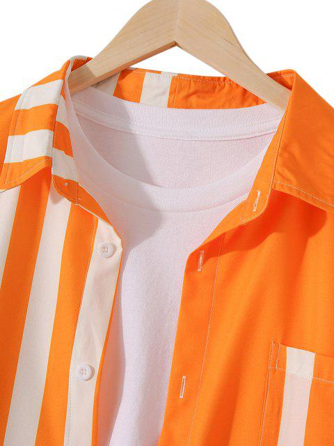 outfits Neon Striped Button Up Casual Tunic Shirt - PUMPKIN ORANGE M Mobile