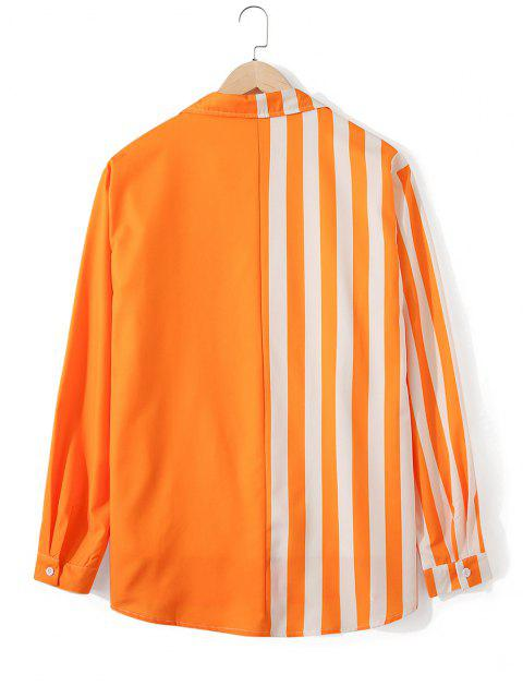 womens Neon Striped Button Up Casual Tunic Shirt - PUMPKIN ORANGE XL Mobile