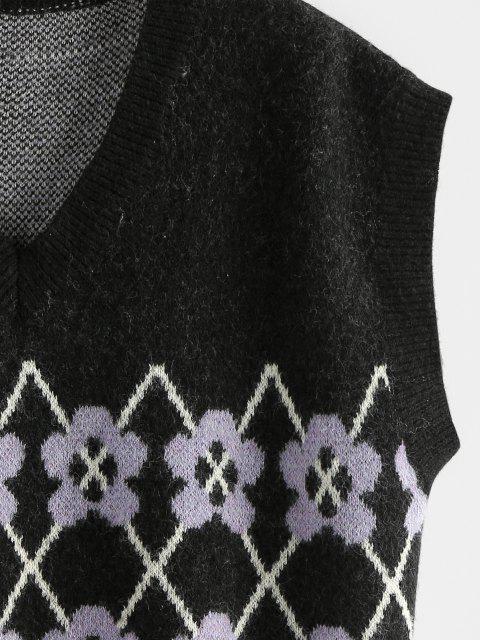 Maglione Sciolto Floreale con Scollo a V di ZAFUL - Nero L Mobile