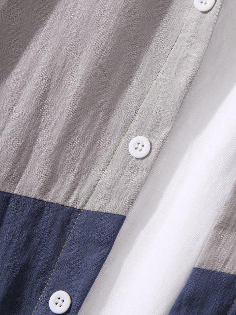 affordable Button Down Colorblock Casual Shirt - DARK SEA GREEN 3XL Mobile