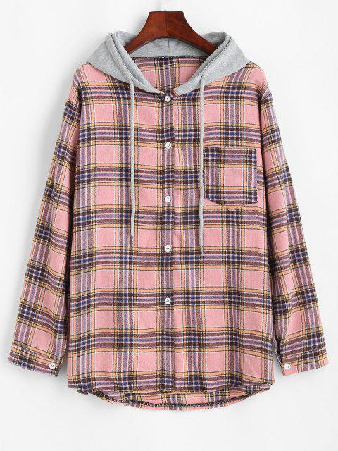 fancy Plaid Print Hooded Button Up Pocket Shirt - LIGHT PINK S Mobile