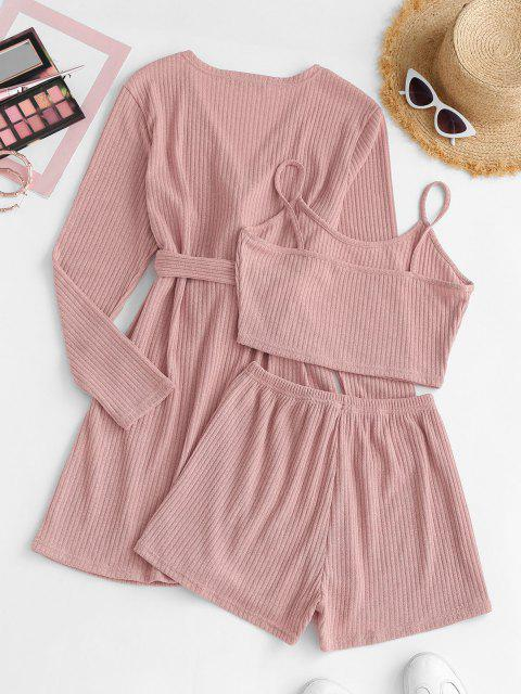 trendy Ribbed Knit Cami Pajama Set with Robe - LIGHT PINK M Mobile
