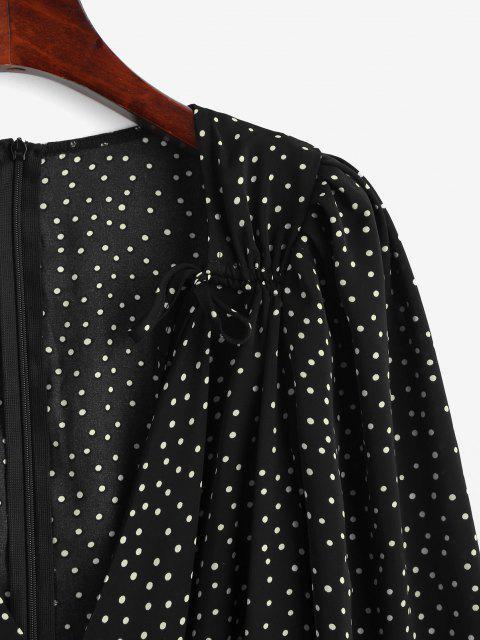 Vestido Manga de Soplo Diseño Impreso de Lunares - Negro L Mobile
