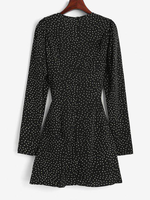 women's Polka Dot Puff Sleeve Cinched Surplice Dress - BLACK S Mobile