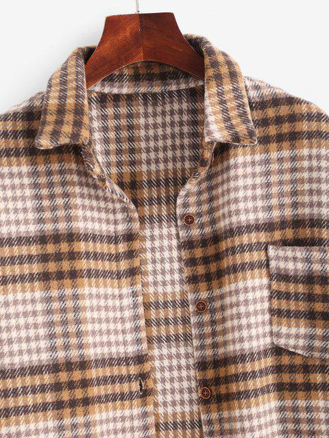 lady Houndstooth Mix Checked Flannel Shacket - MULTI S Mobile