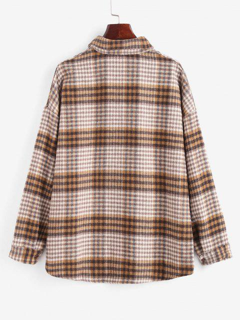 Houndstooth Mix Checked Flannel Shacket - متعدد S Mobile