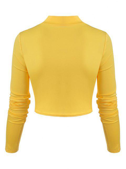 T-shirt Vazado com Laço Cortado - Amarelo S Mobile